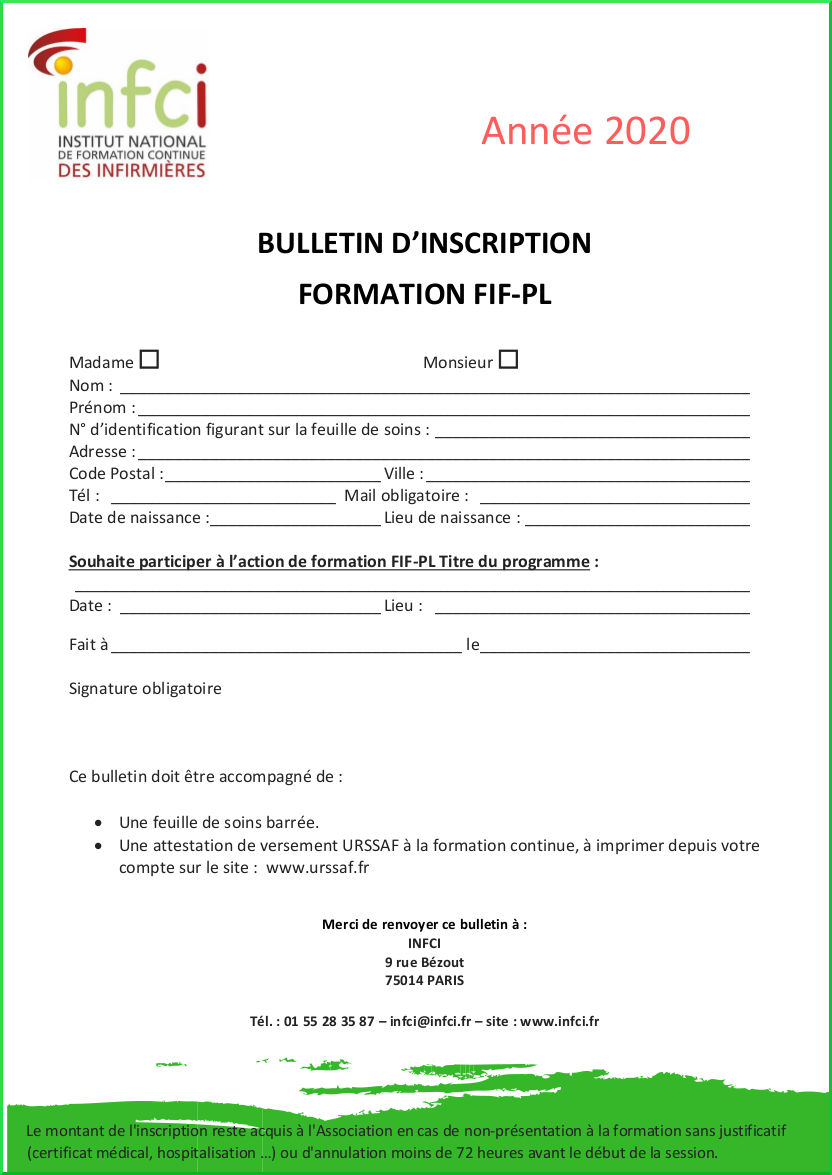Bulletin d'inscription Avenant 6 au Fif-PL