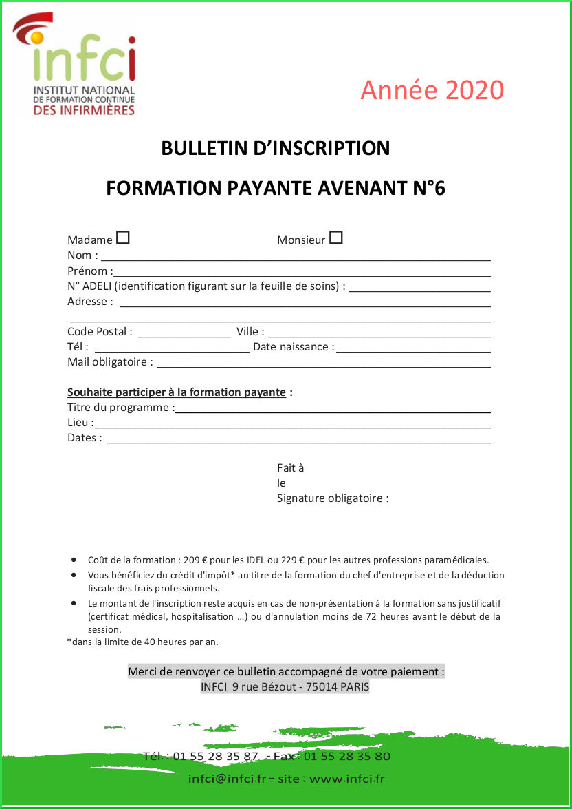 Bulletin d'inscription Avenant 6 Payant