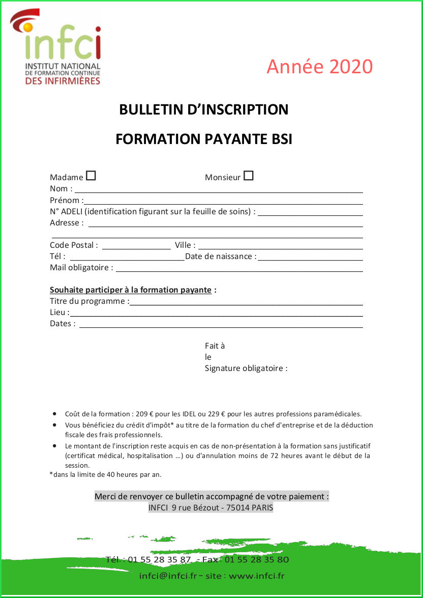 Bulletin d'inscription BSI 2020
