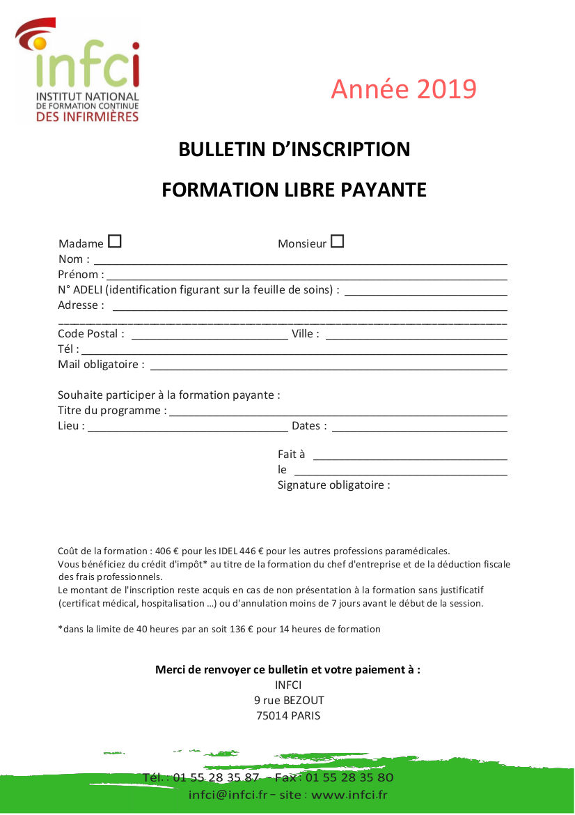 Bulletin d'inscription formation NGAP